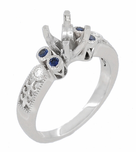 Eternal Stars 1 Carat Diamond and Sapphire Engraved Fleur De Lis Engagement Ring Mounting in 14 Karat White Gold - Item R8411RS - Image 1