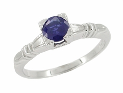 Art Deco Hearts and Clovers Sapphire Engagement Ring in 14 Karat White Gold