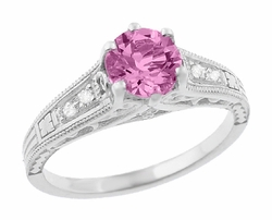 Art Deco Filigree Vintage Style Pink Sapphire and Diamond Platinum Engagement Ring