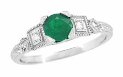 Emerald and Diamond Art Deco Engagement Ring in 18 Karat White Gold