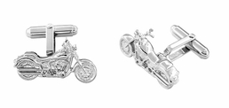 Cruiser Motorcycle Cufflinks in Sterling Silver