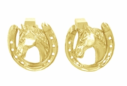 Lucky Horse and Horseshoe Cufflinks in 14 Karat Gold