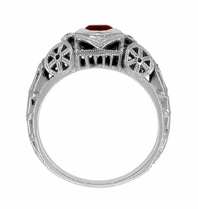 Art Deco Filigree Heart Shaped Almandine Garnet Promise Ring in Sterling Silver - Item SSR1119G - Image 3