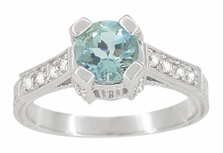 Art Deco 3/4 Carat Aquamarine March Birthstone Castle Engagement Ring in 18 Karat White Gold | Vintage Inspired Aquamarine Engagement Ring