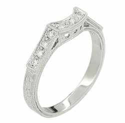 Art Deco Diamonds Filigree Scrolls Curved Wedding Ring in 18 Karat White Gold