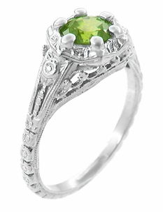 Filigree Flowers Art Deco Peridot Engagement Ring in 14 Karat White Gold - Click to enlarge