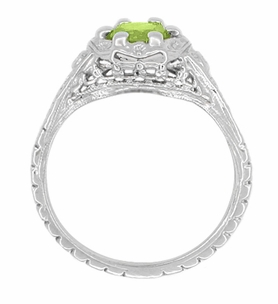 Art Deco Filigree Flowers Peridot Engagement Ring in 14 Karat White Gold - Click to enlarge