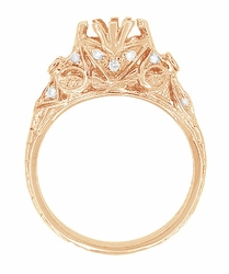 Edwardian Antique Style 3/4 Carat Filigree Engagement Ring Mounting in 14 Karat Rose ( Pink ) Gold