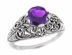 Edwardian Filigree Amethyst Ring in Sterling Silver