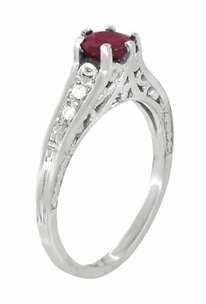 Art Deco Ruby and White Sapphires Filigree Engagement Ring in Sterling Silver - Item SSR158R - Image 1