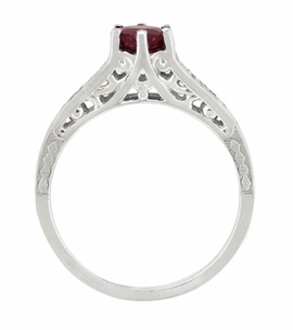 Art Deco Filigree Ruby Promise Ring in Sterling Silver with Side White Sapphires - Item SSR158R - Image 2