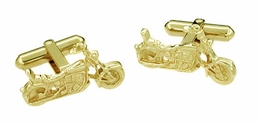 Cruiser Motorcycle Cufflinks in Solid 14 Karat Gold