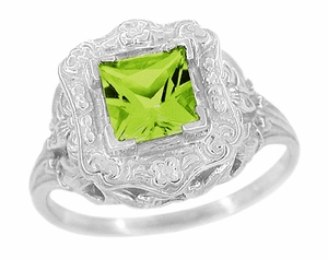 Princess Cut Peridot Art Nouveau Ring in Sterling Silver - Item SSR615PER - Image 1