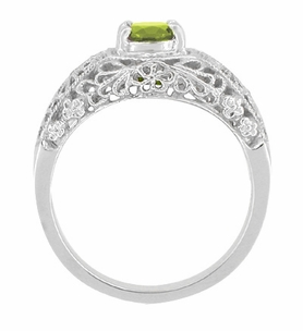 Edwardian Filigree Flowers Peridot Dome Ring in Sterling Silver - Click to enlarge