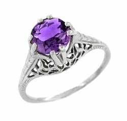 Art Deco Filigree Trellis Amethyst Engagement Ring in 14 Karat White Gold