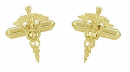 Cadeuceus Doctors Cufflinks in 14 Karat Gold