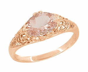 Edwardian Filigree Oval Morganite Engagement Ring in 14 Karat Rose Gold ( Pink Gold ) - Item R799RM - Image 1