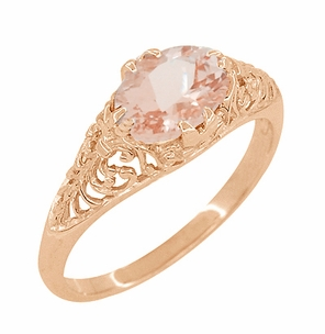 Edwardian Filigree East West Oval Morganite Engagement Ring in 14 Karat Rose Gold ( Pink Gold ) - Item R799RM - Image 2