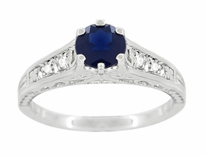 Art Deco Blue Sapphire and White Sapphires Filigree Engagement Ring in Sterling Silver - Click to enlarge