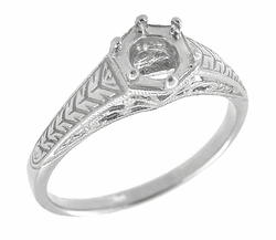 Art Deco Scrolls and Wheat Filigree Engagement Ring Setting for a 3/4 Carat Diamond in 18 Karat White Gold