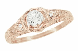 Art Deco 1/3 Carat Diamond Filigree Ring Setting in 14 Karat Rose ( Pink ) Gold