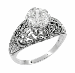 Antique Style Edwardian Filigree Engraved Cubic Zirconia ( CZ ) Engagement Ring in Sterling Silver