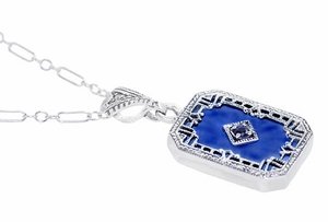 Art Deco Filigree Royal Blue Sun Ray Crystal Pendant Necklace with Sapphire and Diamond in Sterling Silver - Click to enlarge