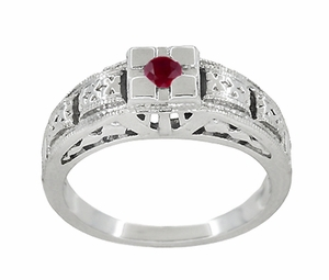 Art Deco Engraved Ruby Ring in Sterling Silver - Item SSR160R - Image 2
