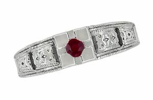 Art Deco Engraved Ruby Ring in Sterling Silver - Item SSR160R - Image 3