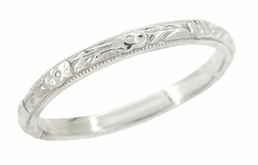 Art Deco Roses and Leaves Wedding Band in Platinum