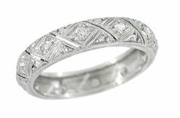 Art Deco Diamond Set Antique Wedding Band in Platinum - Size 7 1/2