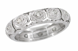 Art Deco Diamond Set Antique Wedding Band in Platinum - Size 4