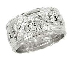 Filigree Engraved Scrolls Antique Wedding Band in 14 Karat White Gold