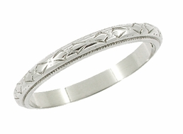 Art Deco Bows Wedding Ring in 18 Karat White Gold