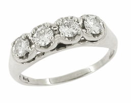 Mid Century Antique Diamond Wedding Ring in 14 Karat White Gold