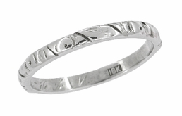 Art Nouveau  Antique Wedding Band in 18 Karat White Gold