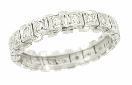 Mid Century Diamond Set Wedding Band in 14 Karat White Gold - Size 7 1/4