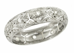 Art Deco Diamond Set Antique Wedding Band in 18 Karat White Gold - Size 6 1/2