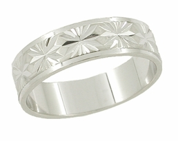 Mid Century Starburst Engraved Wedding Band in 14 Karat White Gold