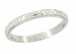 Art Deco Roses and Bars Wedding Ring in Platinum
