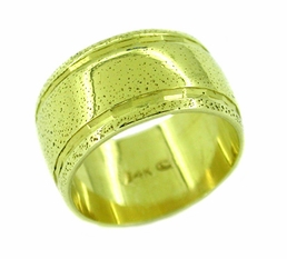 Sandblasted Wide Band Ring in 14 Karat Gold