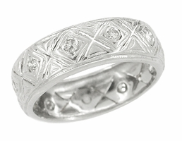 Art Deco Putnam Antique Diamond Platinum Wedding Ring - Size 5
