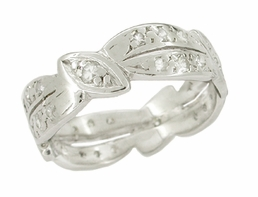 Retro Moderne Diamond Set Antique Platinum Wedding Band