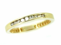 Channel Set Diamond Wedding Band Ring in 14 Karat Gold