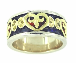 Enameled Heart Band Ring in 14 Karat White and Yellow Gold