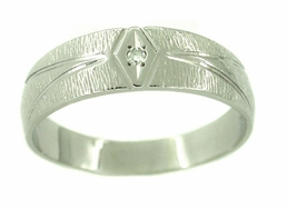 Men's Bark Finish Diamond Wedding Band Ring in 14 Karat White Gold