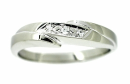 Men's Diamond Band Wedding Ring in 14 Karat White Gold