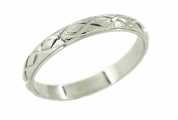 Men's Wedding Band Ring in 14 Karat White Gold