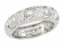 Art Deco Diamond Set Antique Wedding Band in Platinum - Size 4 1/2