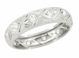 Art Deco Diamond Set Antique Wedding Band in Platinum - Size 6 1/2